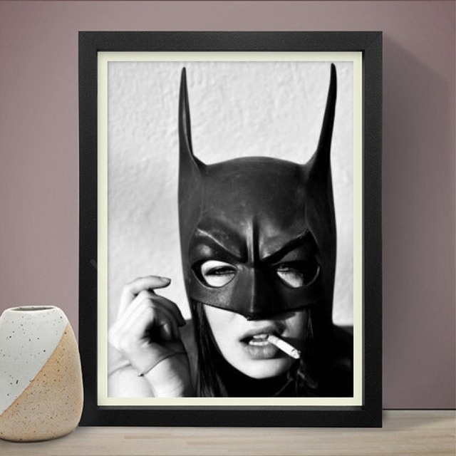 Batman Smoking Poster Prints , Black and White Superhero Batman Girl
