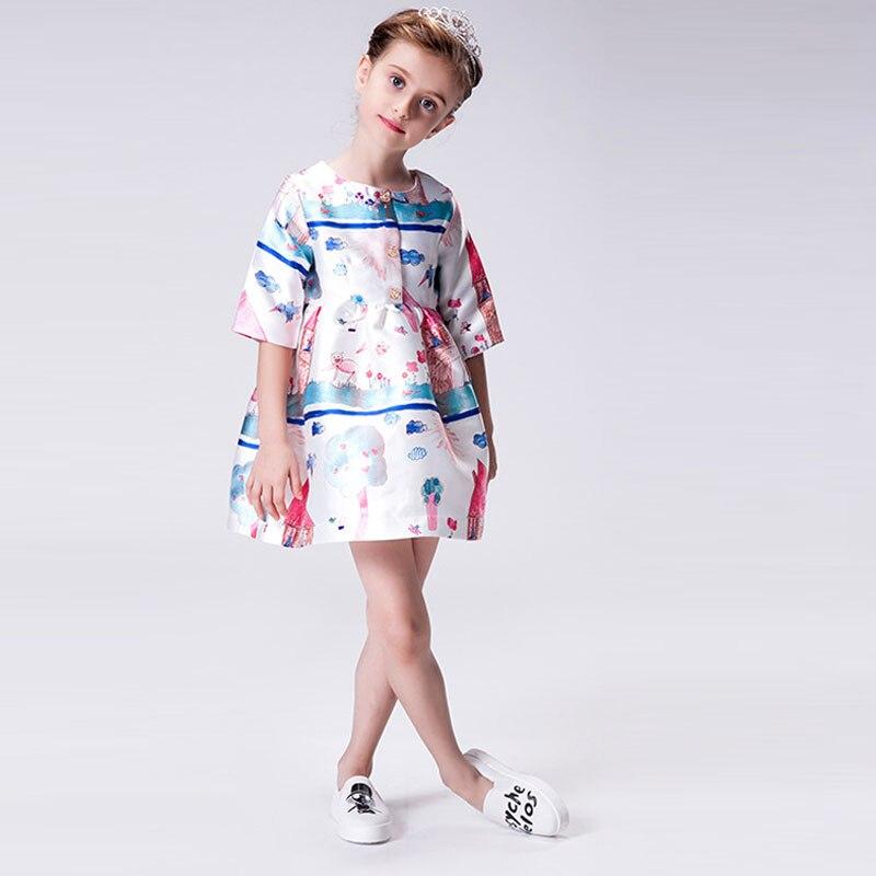 c9b75b411 Tienda Online Niñas Vestidos Para Niñas Ropa de Invierno 2016 de la Marca  de Estilo Europeo Traje de Princesa Vestidos Niños Carácter Imprimir  Vestido de ...