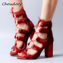 Choudory Sandalias Mujer Horsehair Fashion Chunky High Heels Woman Sandals Sexy Summer Zapatos Mujer Band Party Woman Shoes