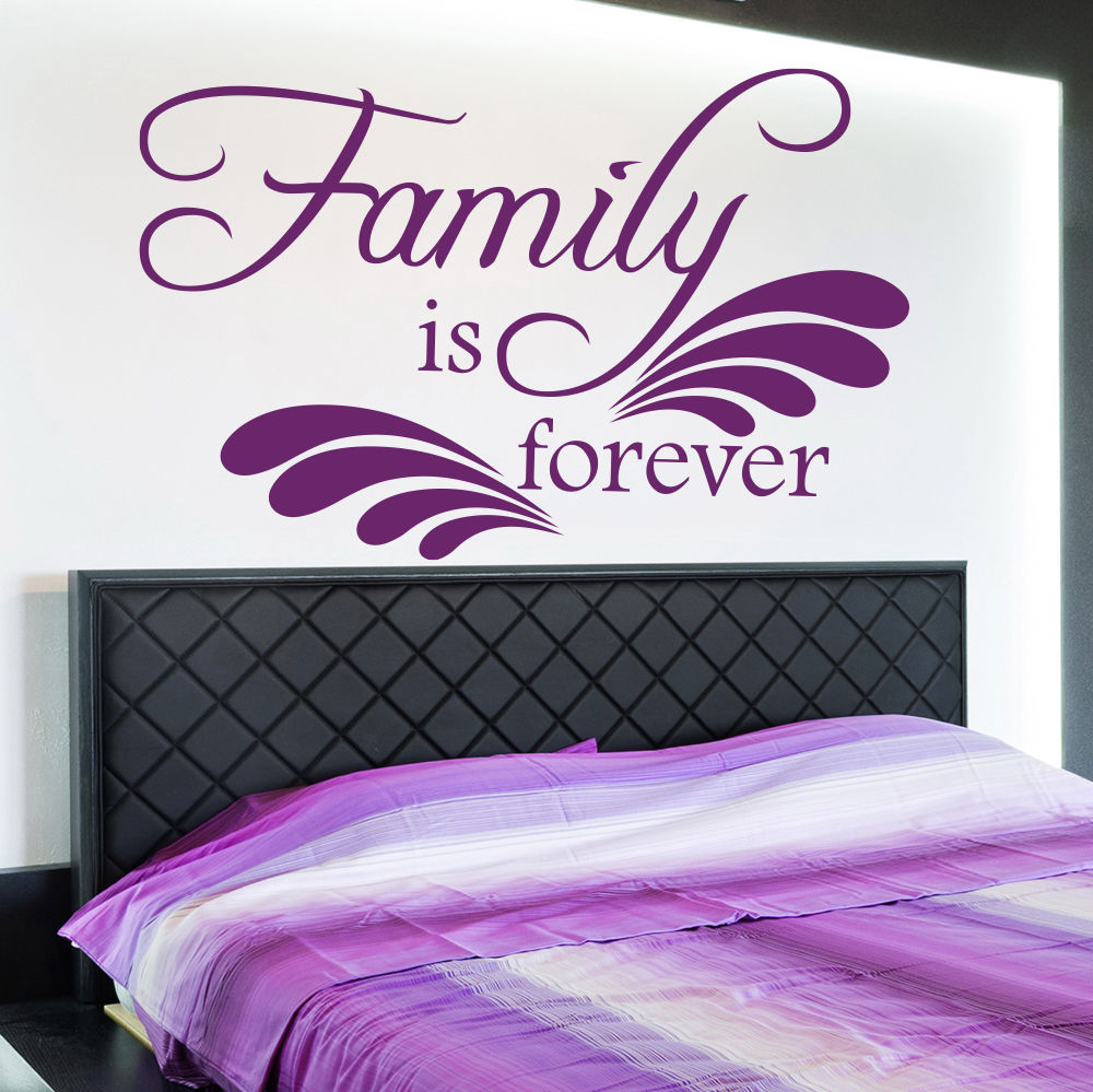 Wall Decal Quotes Family Is Forever Art Living Room Bedroom Vinyl Sticker