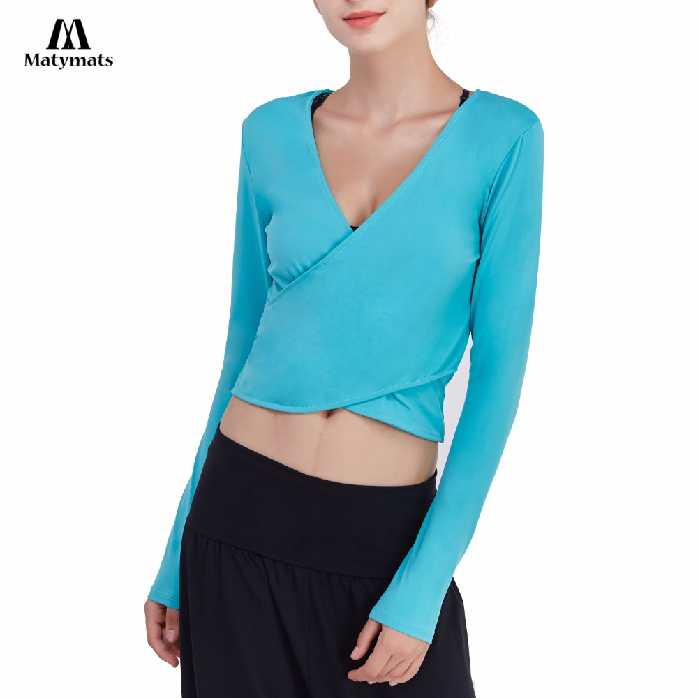 Matymats Yoga Shirt High Quality Reversible Design Women Long Sleeves Deep V-neck Cross Wrap Crop Tops Lightweight Fitness Wear