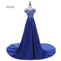 ZYLLGF Bridal Sheath Sweetheart Long Chiffon Vestido Noite Off Shoulder Appliques Beaded Side Slit Prom Gown