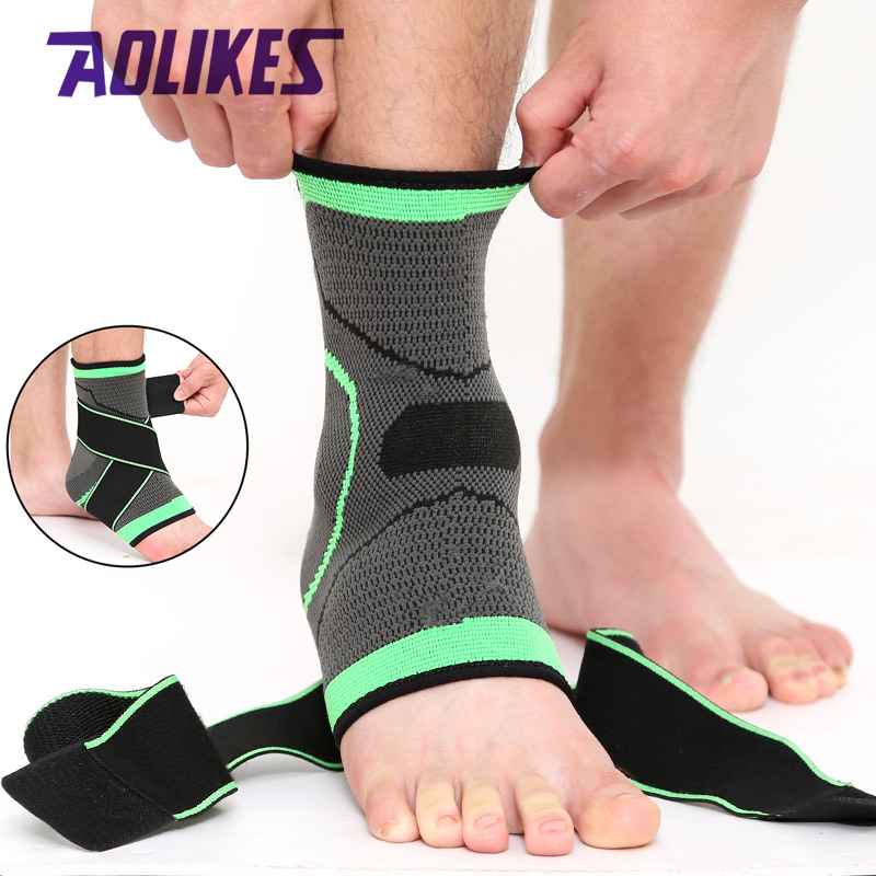 AOLIKES 1PCS 3D Sport Ankle Brace Protector Compression Ankle Support Pad Elastic Nylon Strap Brace for Football Basketball(China)