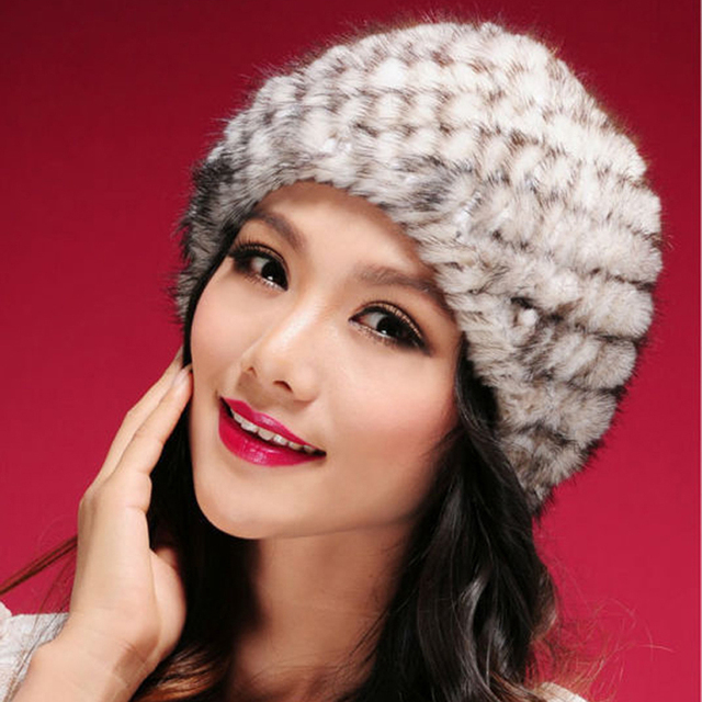 Genuine Mink Fur Hats Knitted Real Mink Fur Caps Women Elastic Fur Beanies Winter YH069 Hot Sales