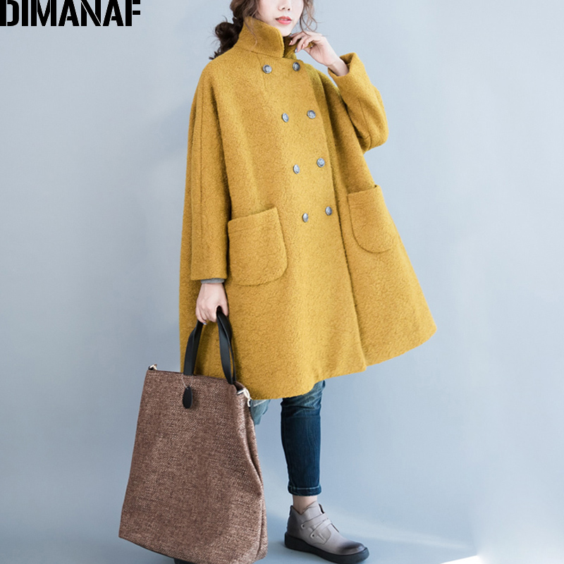 DIMANAF Women Wool Long Coat Plus Size Thicken Outerwear Autumn Winter Female Elegant Lady Loose Vintage Cotton Clothing 2019
