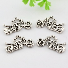 Hot ! 10pcs Antique Silver Zinc Alloy  Sided motorcycle Charm Pendants 25 x 14mm nm47