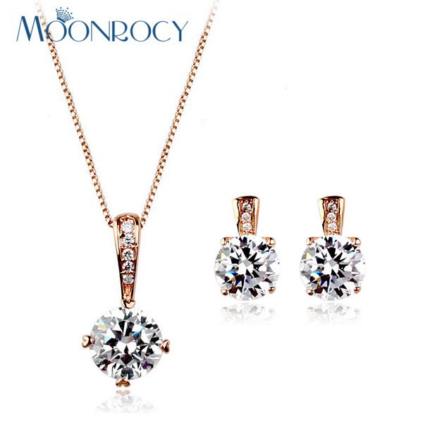 MOONROCY Zirconia Rose Gold Color Free Shipping fashion crystal necklace and earrings Jewelry set wholesale women's Gift