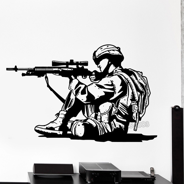 Floor Decor Military Discount: Marine Soldier Wall Decals Gun Silhouette Wall Decal Vinyl