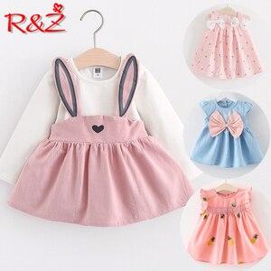 R & Z Bambino Vestito Lungo Del Manicotto Della Ragazza Del Vestito 2019 Del Nuovo Autunno di Stile di Modo Dei Bambini Vestiti di Cotone Infantile Abbigliamento per Bambini carino Coniglio(China)