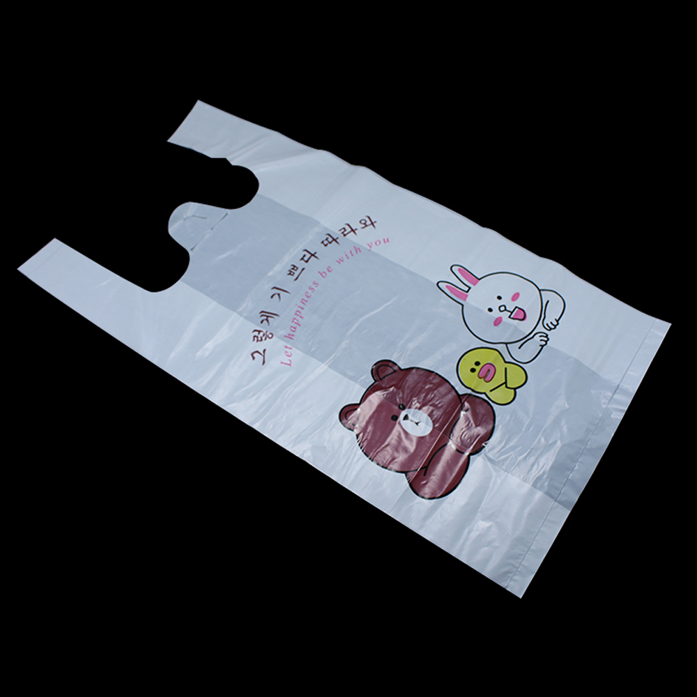 200pcs/Lot 2 Sizes Plastic Shopping Take Out Bag For Food Snacks Packaging Carrier White Cartoon Animal Design Package Vest Bags