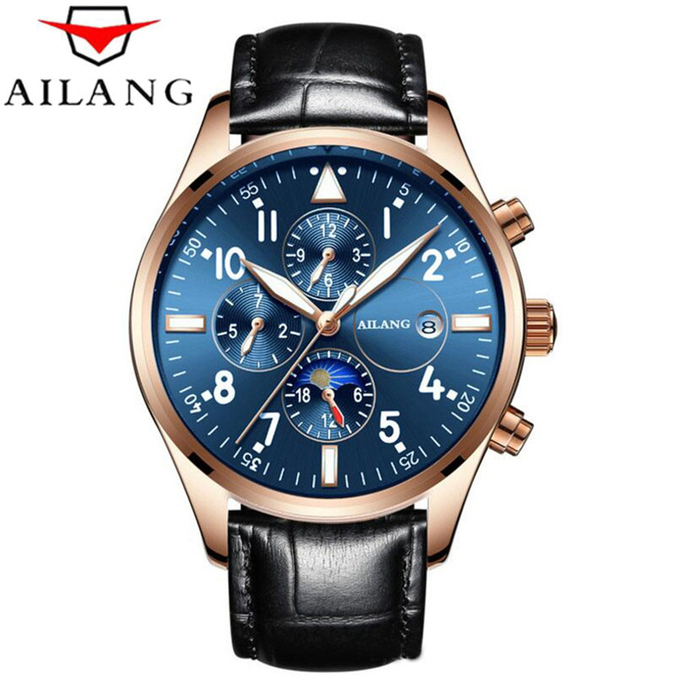 Relogio Masculino AILANG Mens Watches Top Brand Luxury Automatic Mechanical Watch Men Rose gold Business Genuine Leather Watches 2018 ailang sapphire automatic mechanical watch mens top brand luxury waterproof brown genuine leather watch relogio masculine