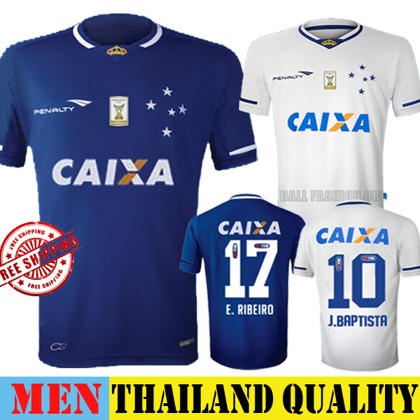 c82b1784af New Cruzeiro Jersey 15 16 Home Blue E RIBEIRO J BAPTISTA Soccer Jersey 2015  Away White R GOULART Football Shirt Third 3RD 2016