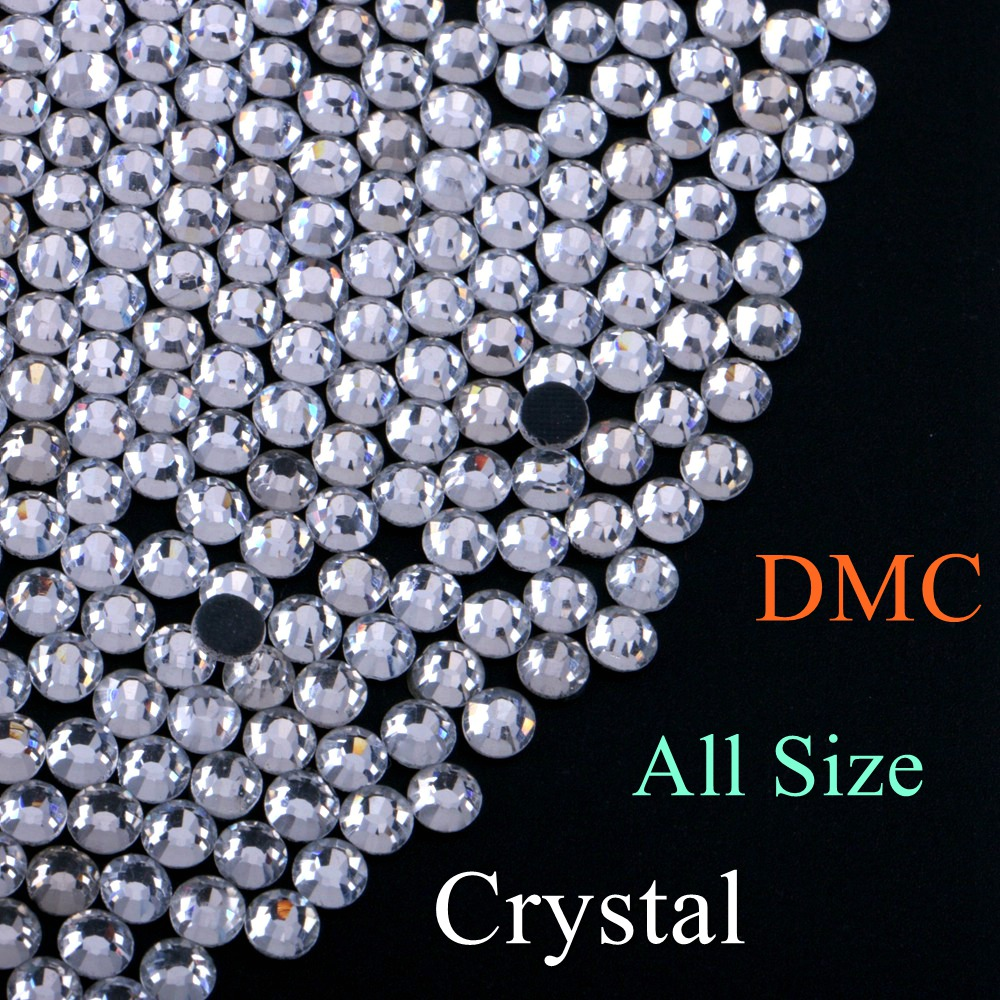 All Size! Clear Crystal Color DMC Quality Hotfix Rhinestone Glass Crystals Stones Hot Fix Iron-On FlatBack Rhinestones With Glue