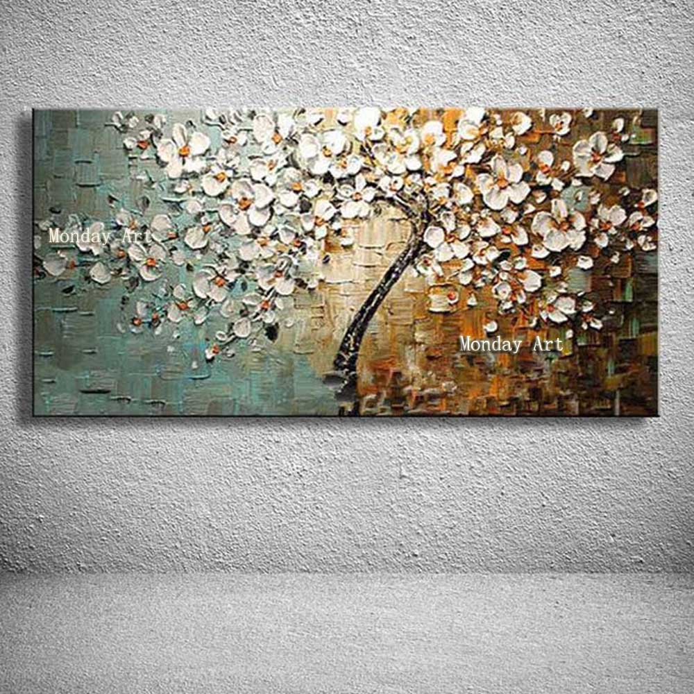 Handmade 3D Flower Knife Pictures Home Decor Hand Painted Flowers Oil Painting On Canvas Handmade Gold Floral Paintings Wall Art