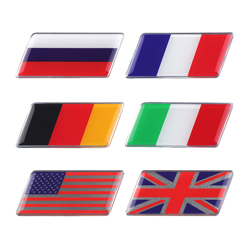 Fashion Car Styling Russian US UK Italy France German Flag Stickers Emblem Badge Decals Decoration Decal Motorcycle Stickers