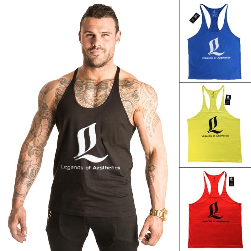 Singlet Bodybuilding Fitness férfiak Racerback Tank Tops LOA ujjatlan férfi ruházat mellény izmos ing Masculina Gimnasio