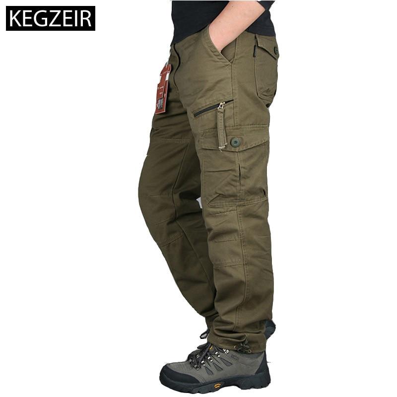 2019 Autumn Winter Mens Army Pants Straight Long Men Trousers Casual Streetwe Tactical Pants Men Plus Size Pantalon Cargo Homme