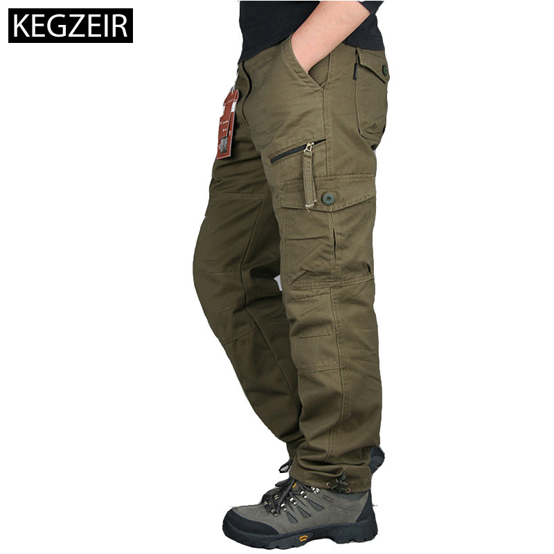 2020 Autumn Winter Mens Army Pants Straight Long Men Trousers Casual Streetwe Tactical Pants Men Plus Size Pantalon Cargo Homme