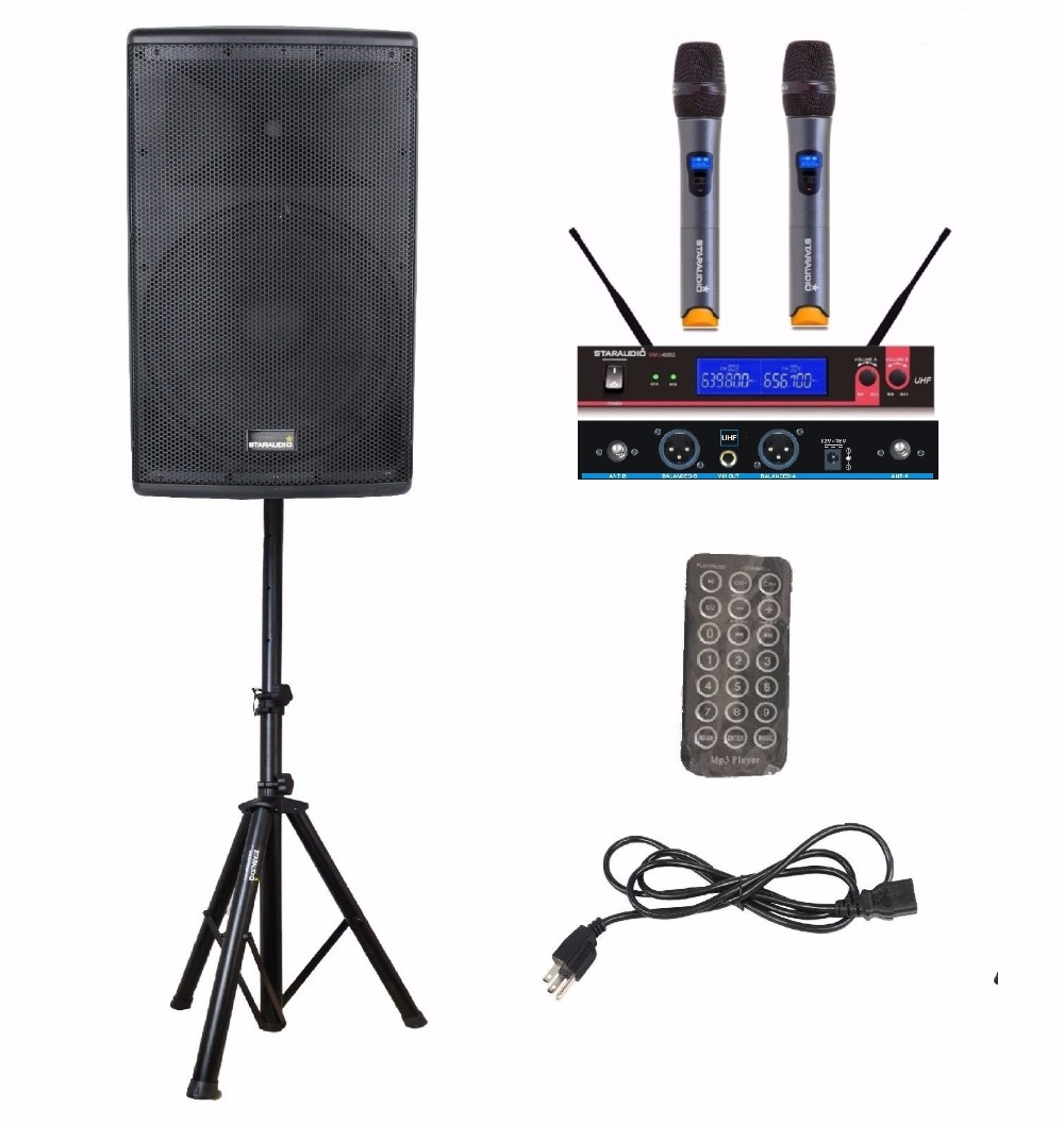 Staraudio shd 15 Pro 15 ''4000 Вт 2 способ работает активный караоке этап аудио Bluetooth Динамик w/2ch беспроводной микрофоны