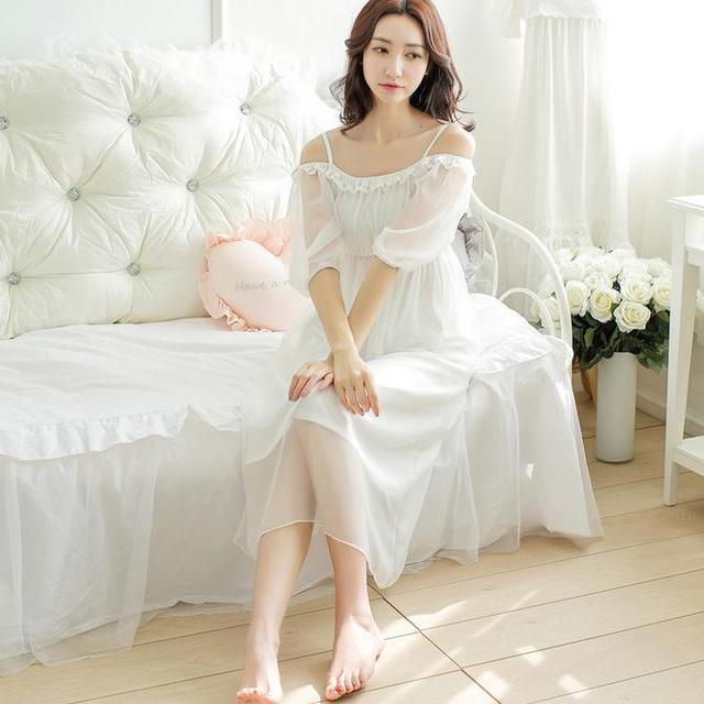 2016 spring summer half-sleeve lace princess sleepwear Sweets cotton sleepwear dress Nightgowns Spaghetti Strap AW325