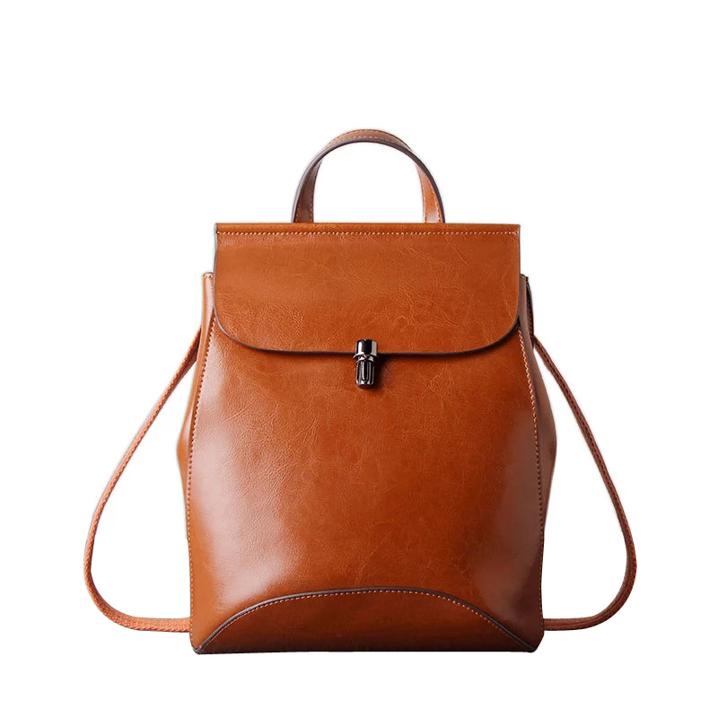 Fashion New Brand Oil PU Leather Women Backpack Lady Shoulder Bag Female Retro Girls School Bag Large Bagpack Vintage Daypack