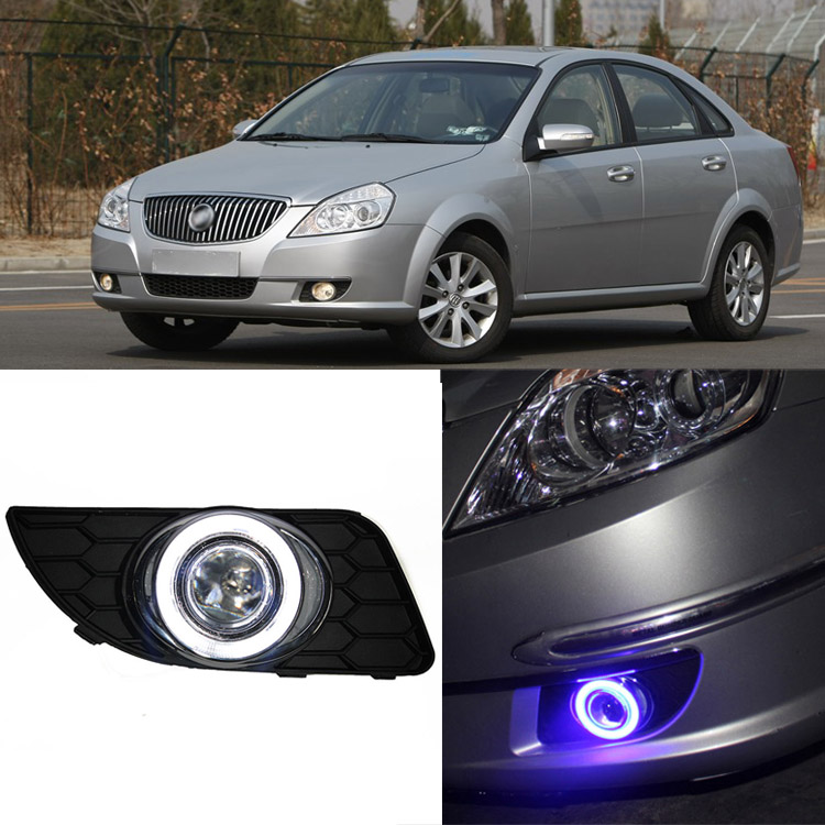 Ownsun Brand New Superb LED COB Angel Eyes+HID Lamp Projector Lens Foglights For Buick Excelle 2013 ownsun new style tear drop led projector lens headlight for new ford focus 2012 2013