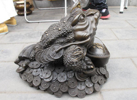 xd 002271 Chinese Royal Bronze Blessing Money Spittor Frog Lucky Fengshui huge statue
