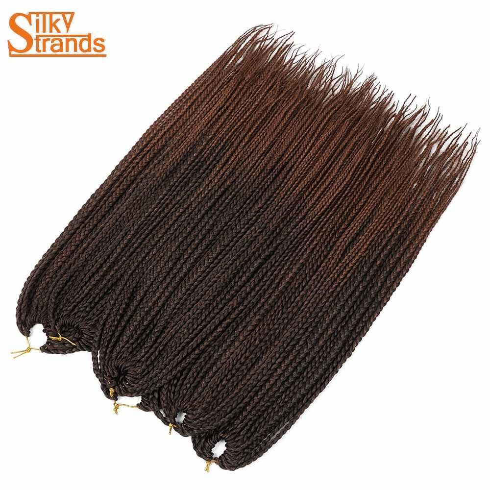 Шелковистые пряди крючком косы микро бокс сплетенные волосы для наращивания Омбре синтетические плетеные волосы кроше оптом