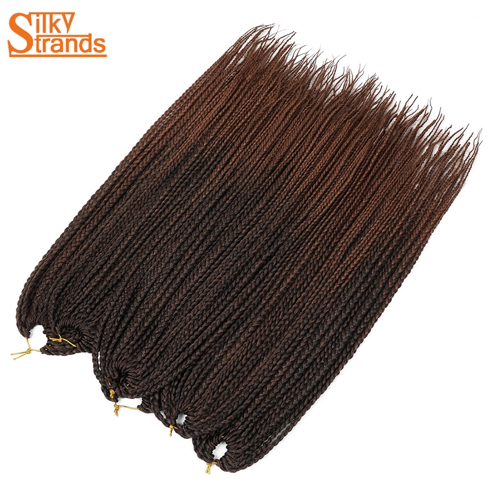 Silky Strands Crochet Braids Micro Box Braid Hair Extensions Ombre Synthetic Braiding Hair Crotchet  Hair Bulk