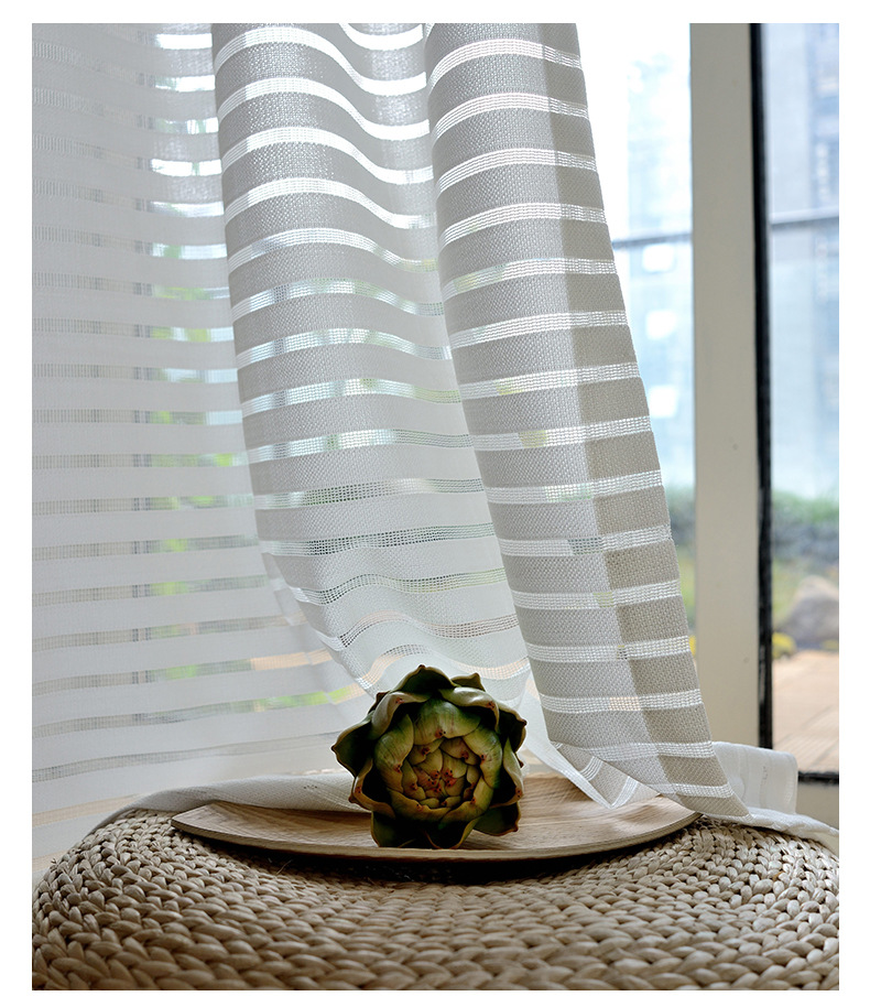 FYFUYOUFY Modern Simple Striped Tulle Curtains For Living Room The Net  Curtains For Windows The Blinds For Office Air Windows In Curtains From  Home U0026 Garden ... Part 58