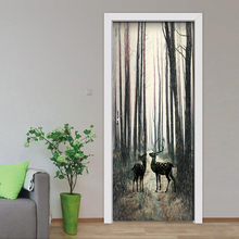 2 Pcs/set DIY Door Stickers PVC Waterproof Self-adhesive Nordic Forest Elk 3D Wallpaper Living Room Door Decor 3D Mural Decals