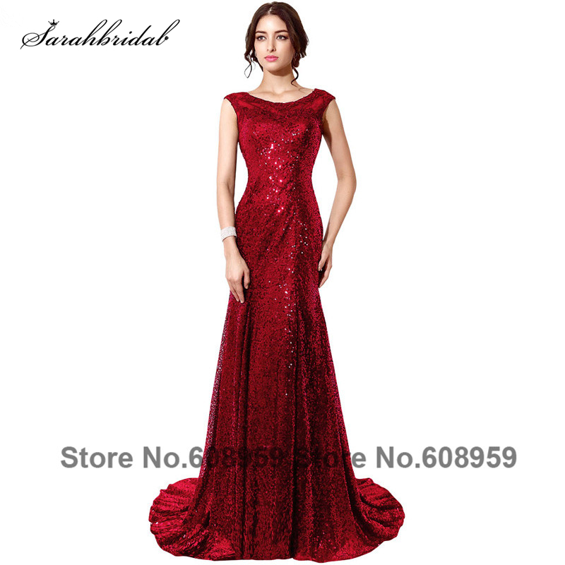 Burgundy/Gold/Black Sequined Mermaid   Prom     Dresses   Real Photo Vestidos Largos De Fiesta Mujer Evening   Dress   Customize SD197