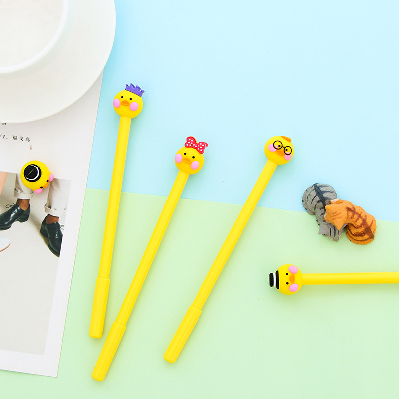 2Pcs/Lot Novelty Kawaii New Cute Creative Yellow Cartoon Duck Face Expression Gel Pen Office School Gift Stationery Pen E0755