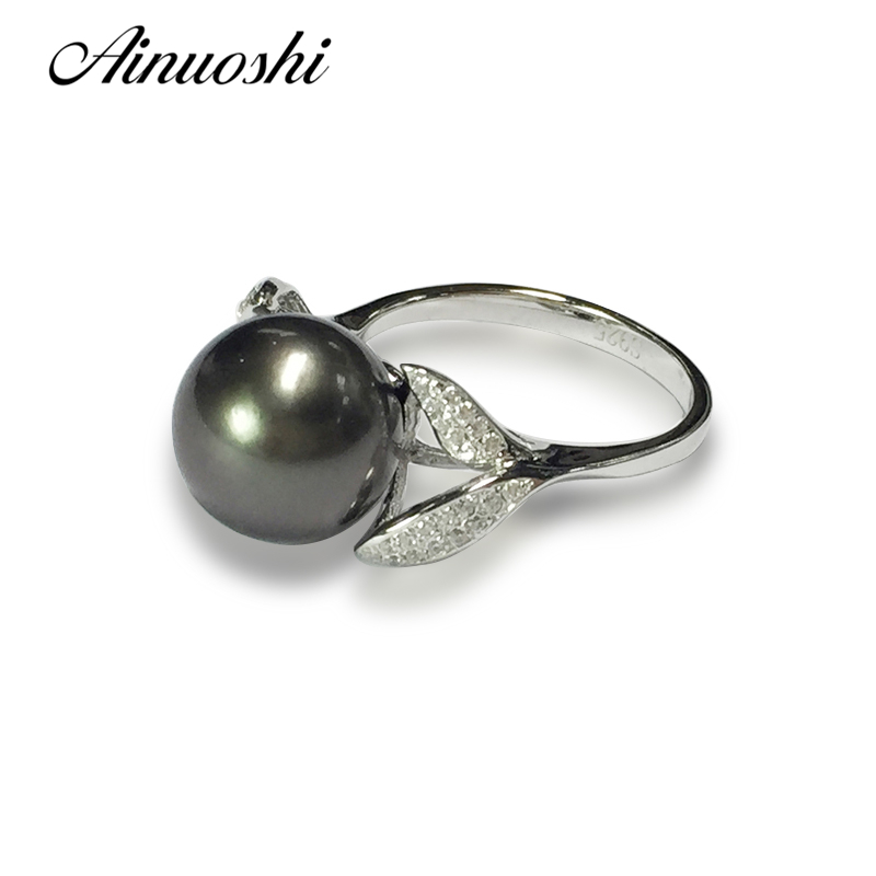 Luxury Silver Ring Set mm Black Tahitian Pearl Wholesale Fashion mm Black