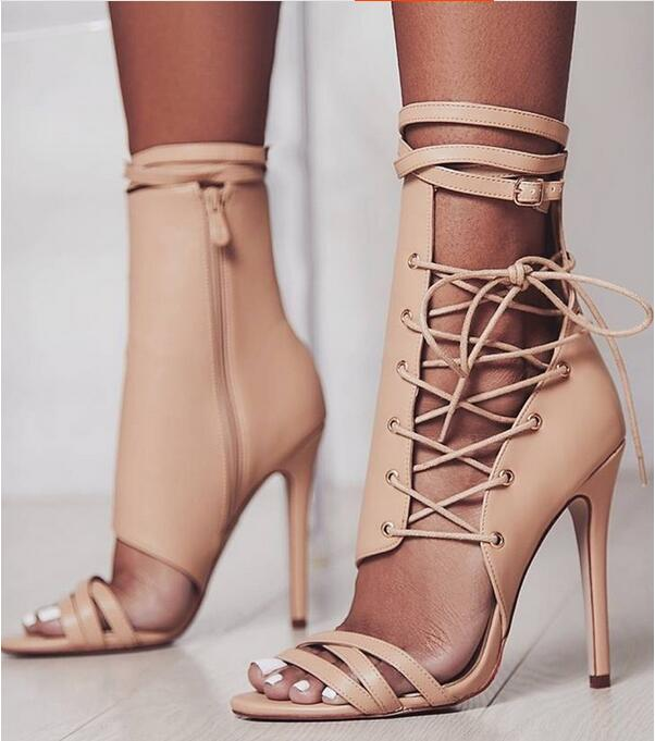 New Arrivals Women Heel Sandals Beige Leather Ankle Buckle Summer Roman Women Sandals Peep Toe Cut-outs Gladiator Strap Sandals new fashion summer shoes women shoes peep toe patent leather med heel women sandals cut outs gladiator small big size 32 44 0372