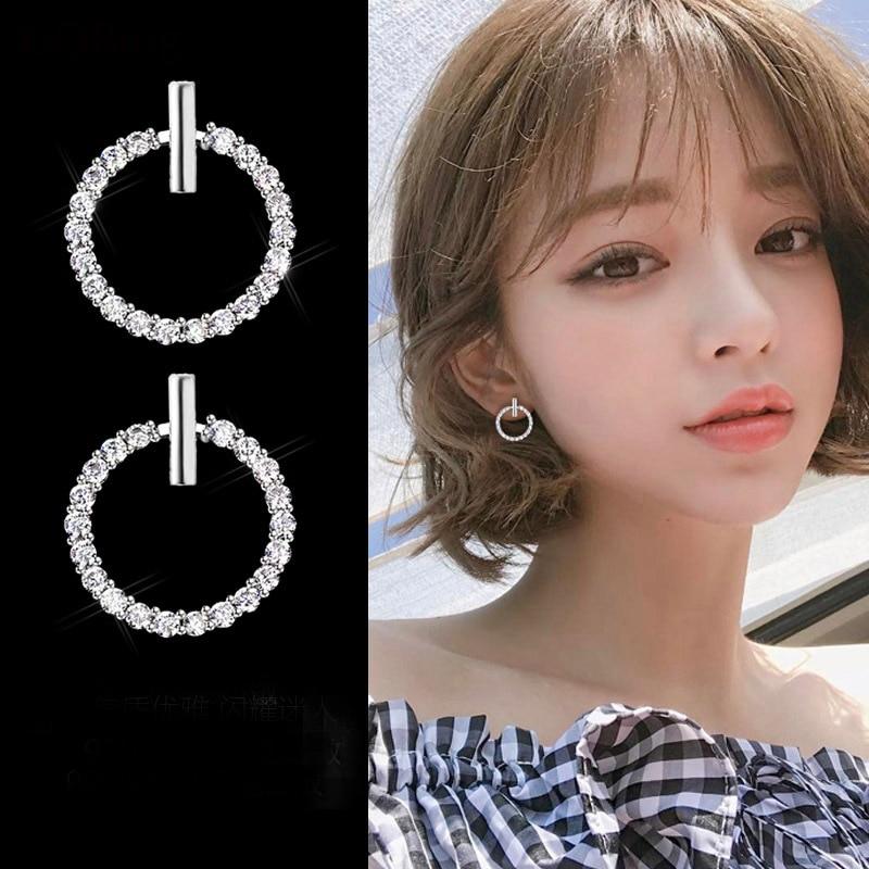 Free Shipping Fashion 925 Sterling Silver Crystal Rhinestone Geometric Round Stud Earrings For Women Beautiful Jewelry