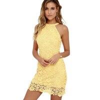 c4d1b674a1 Sexy Women S Sexy Night Club Coral Vestidos Halter Neck Elegant Wedding  Party Robe Sheath Yellow