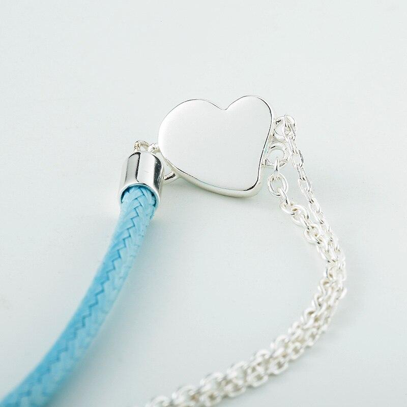 b9168732ab01 Fine Jewelry Echt 925 Sterling Silber Schmuck Für Frauen Blau Herz Armband  Blau Leder Kette Silber Kette Armband Herz Armreif in Fine Jewelry Echt 925  ...