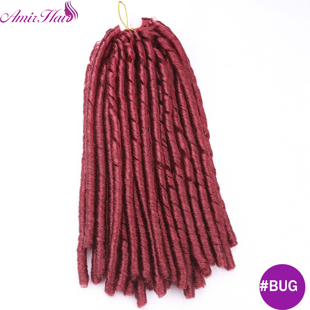 Amir Hair 14inch Synthetic Soft Dreadlocks with Medium lenght 30 strands black and Piano Color Crochet Braids Hair