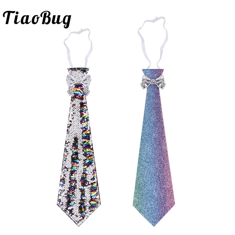 TiaoBug Glittery Reversible Sequins/Gradient Ombre Paint Necktie Festival Rave Party Masquerade Fancy Stage Costume Accessories