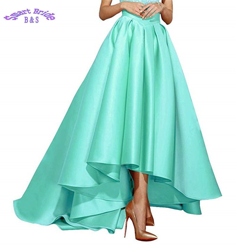Cocktail Party Dresses 2019 Satin High Low Birthday Prom Skirts Empire Waist Pleated Skater Dress Vintage A Line Cdress 1 Weddings & Events