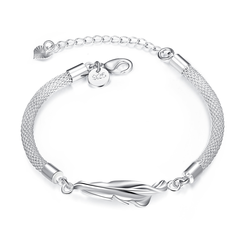 Jexxi Office Lady Fine Jewelry 925 Sterling Silver Leaf With Chains  Extender Woman Bangles Bracelets