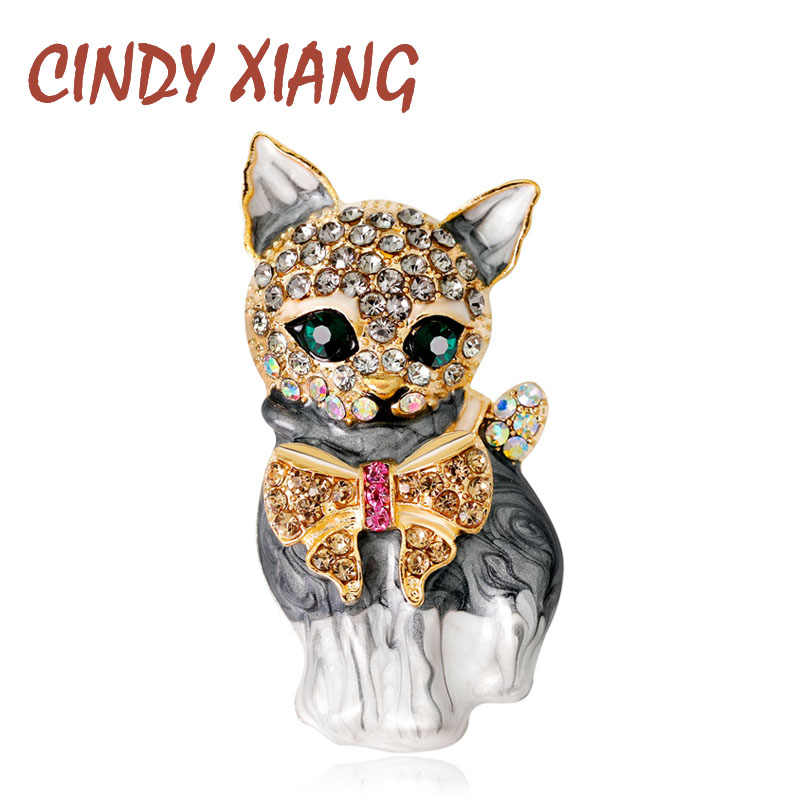 CINDY XIANG Enamel Cat Brooches for Women Fashion Rhinestone Elegant Kitty Brooch Pin Animal Pin High Quality New 2018 Gift