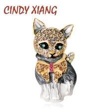 Cindy xiang эмалированные броши кошки для женщин модные стразы
