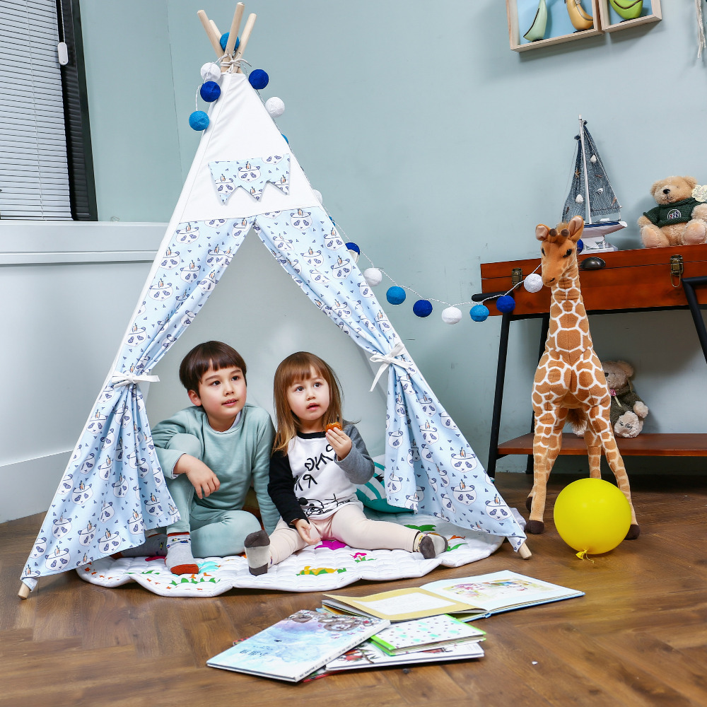 Blue Panda Kids Tipi Tent with Poles Childrens Indian Playhouse Tent cloth wooden poles kids teepee tent childrens playhouse tent tipi kids