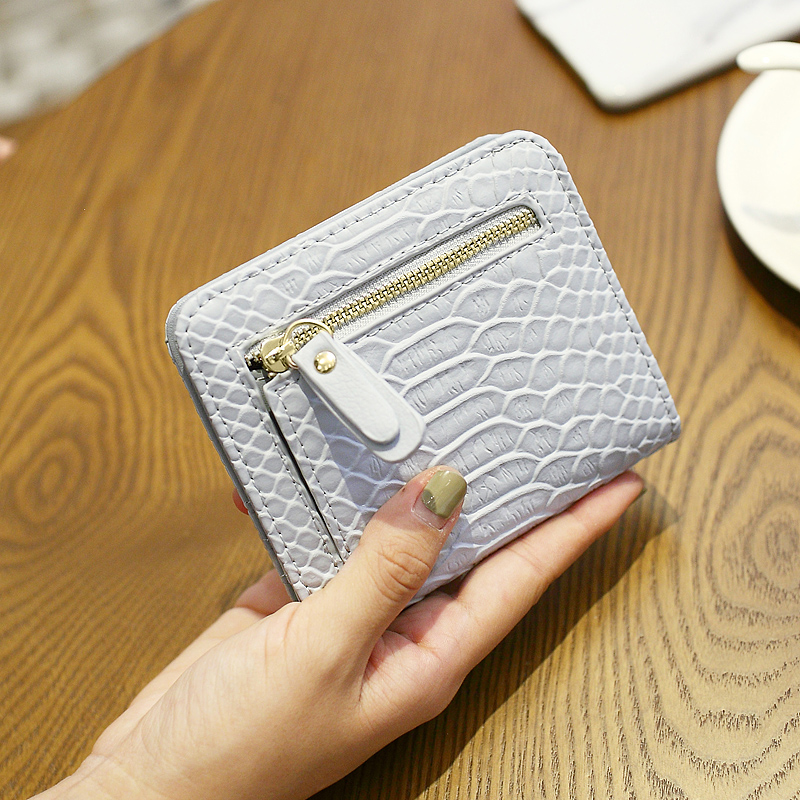 Korean Small Women Purses Hasp PU Leather Serpentine Coin Card Holder Short & Thin Purse Wallet Female Clutch Wallets For Women casual weaving design card holder handbag hasp wallet for women