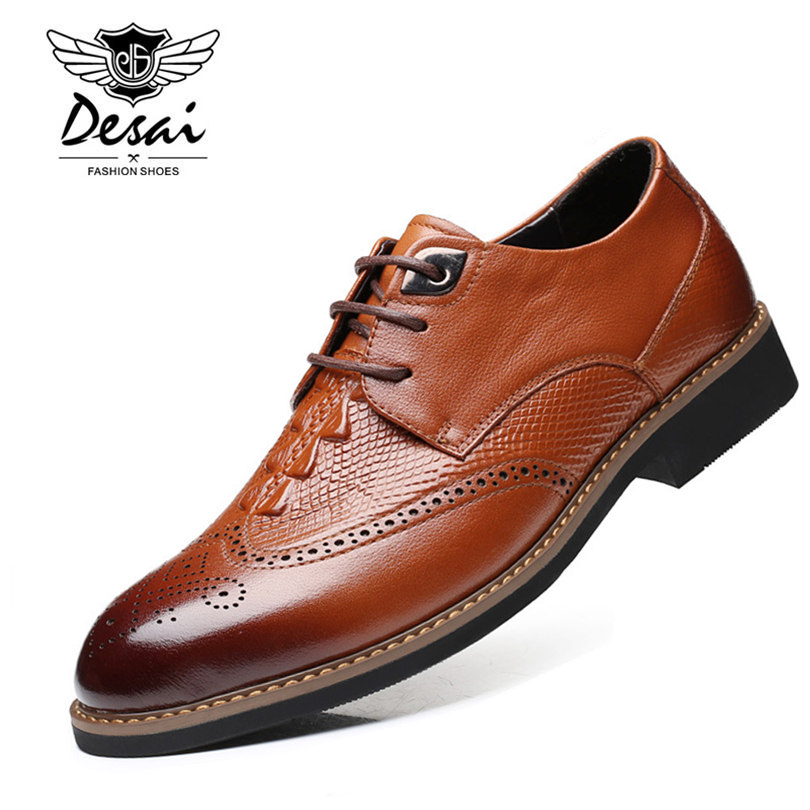 DESAI Brand Genuine Leather Oxford Shoes For Men Crocodile Pattern Luxury Brown Men Casual Business Shoes Size 38-43 desai brand italian style full grain leather crocodile design men loafers comfortable slip on moccasin driving shoes size 38 43