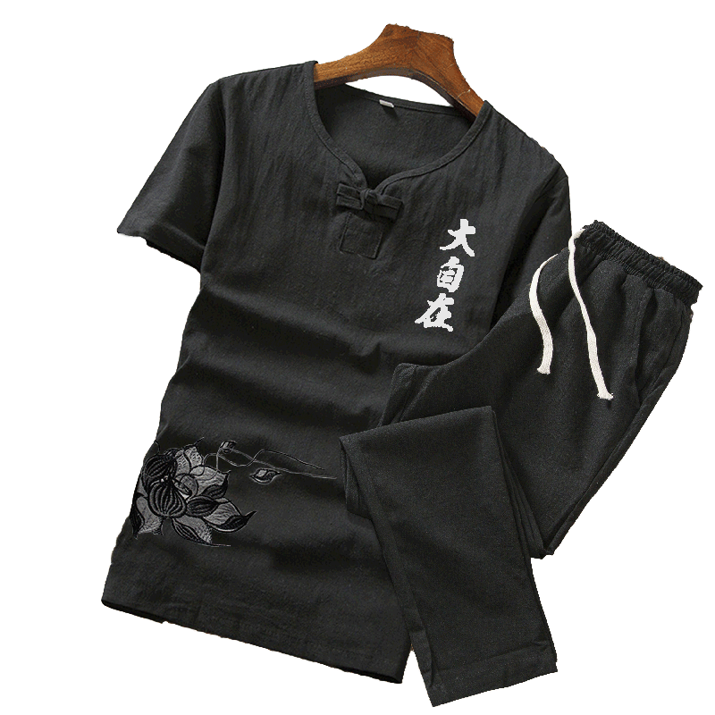 Men V-neck Suit Summer Print Linen Set Cotton Men T-shirt Slim Short-sleeved Solid Color Casual Shorts M-5XL Men's Clothing