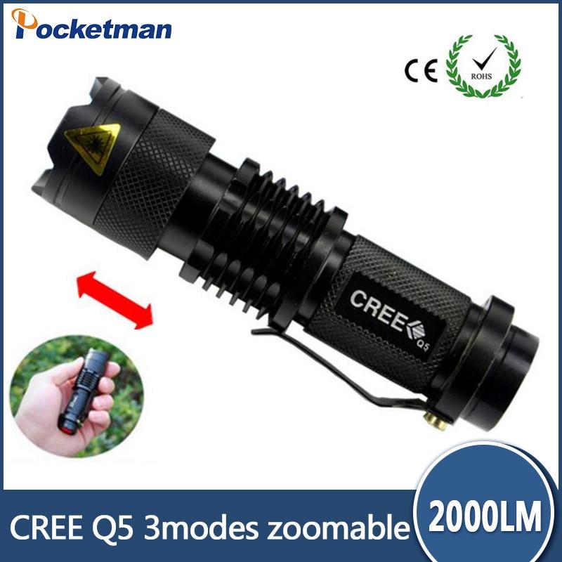 En Kaliteli Ücretsiz Kargo fener Lanterna de led Mini Siyah CREE 2000LM LED El Feneri 3 Modu Zumlanabilir LED Torch Işık