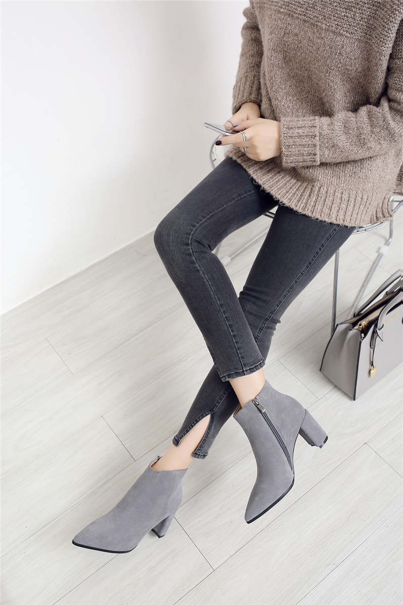 RYVBA Women suede Genuine leather pointed toe Ankle boots womens Autumn winter boots 2018 Woman fashion square high heels shoes 11